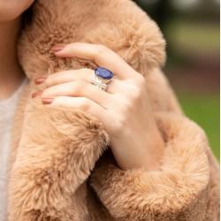 Bague large ethnique argent Lapis Lazuli ovale & Perles blanches CANYON