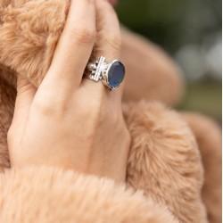 Bague large ethnique argent Labradorite ovale & Perles blanches canyon bijoux