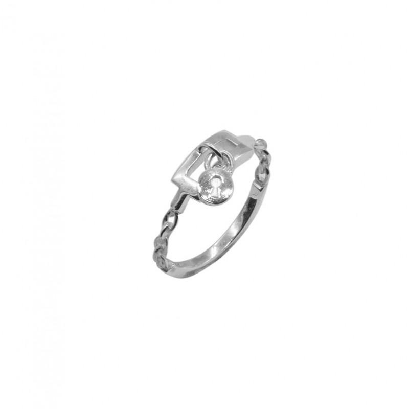Bague fine anneau Ceinture chaîne argent & Médaille ronde design CANYON