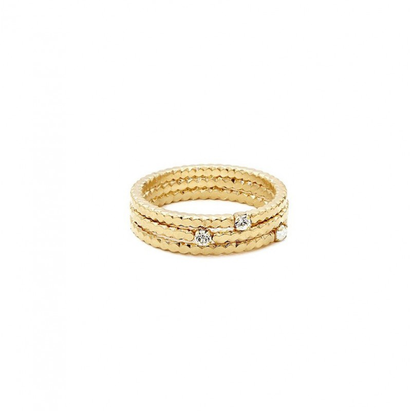 Bague fine AVA Triple Or - Trois anneaux pastillés & 3 cristaux blancs - BDM Studio
