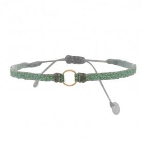 Bracelet homme cordon gris PIN - Tissés vert & Anneau doré - LeJu London