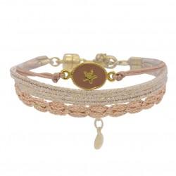 Bracelet multi-tours RACHEL cordon - Liens roses & Médaille étoile dorée - BY GARANCE