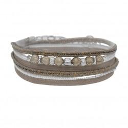 Bracelet multi-rangs PEPITA argent - Cordons & Perles grises - By garance