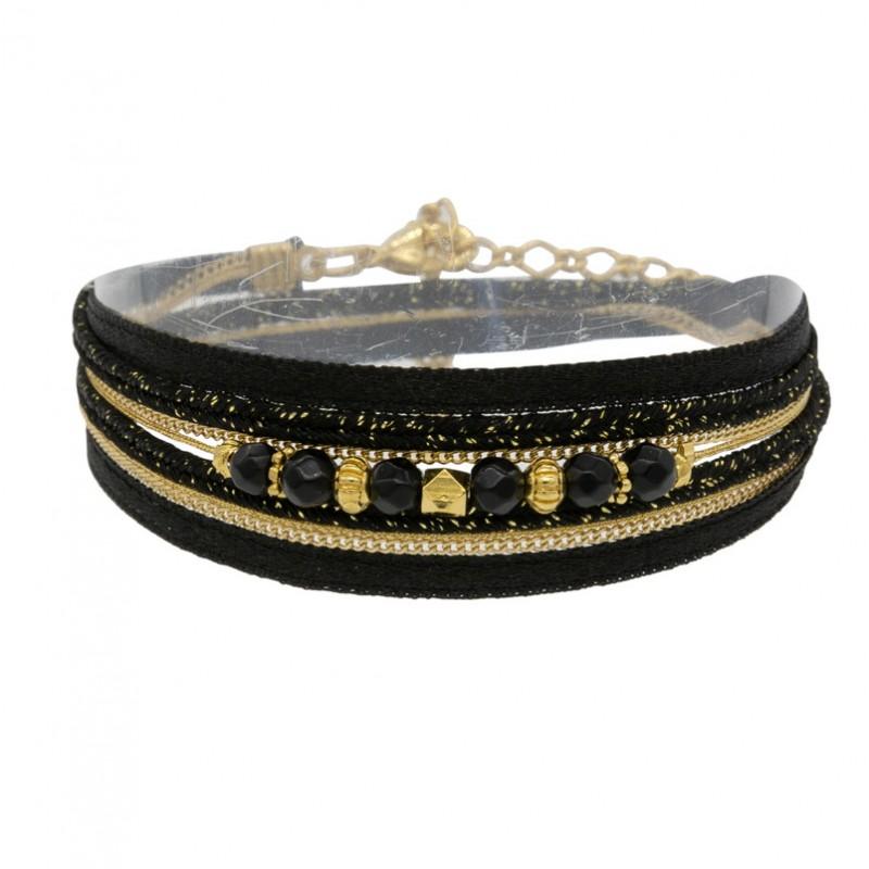 Bracelet multi-rangs PEPITA doré - Cordons & Perles  - BY GARANCE