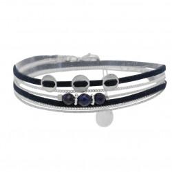 Bracelet double tours ROCKY argent - Liens & Perles pastilles bleus  - BY GARANCE