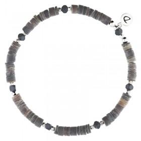 Bracelet homme élastiqué argent REBEL - Perles de Coquillages Gris Choco - DORIANE Bijoux