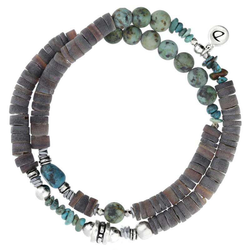 Bracelet homme élastiqué Double argent gris vert & Décor ethniques DORIANE Bijoux