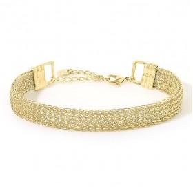 Bracelet Jonc souple VENICIA Or - Demi-jonc & Fine chaînettes macramés  - BDM Studio
