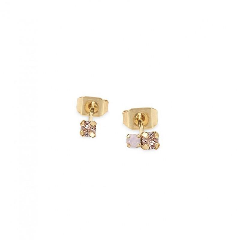 Boucles d'oreilles Puces AMANTS Or - Cristal rose opal & Cristaux roses - BDM Studio