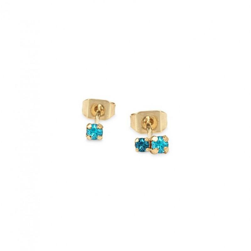 Boucles d'oreilles Puces dépareillées AMANTS Or - Cristal bleu & turquoise BDM STUDIO