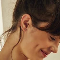 Boucles d'oreilles Puces dépareillées AMANTS Or - Cristal Rose & Rose opal