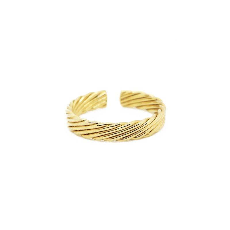 Bague fine ajustable EMMA dorée - Anneau strié design - Nilaï Paris