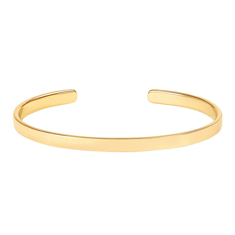 Bracelet jonc fin ouvert BANGLE UP  en laiton doré stylisé Or light