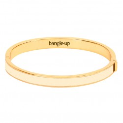 Bracelet jonc Bangle fermé doré - Email Blanc Sable BANGLE UP