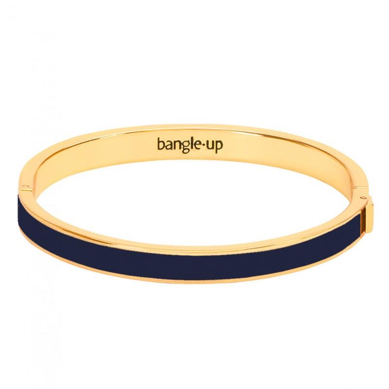 Bracelet jonc Bangle fermé doré - Email Bleu marine nuit BANGLE UP
