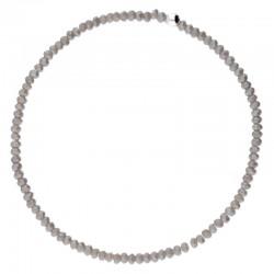 Bracelet élastique CRISTAL - Perle argent & Perles de verres grises tourterelles DORIANE Bijoux