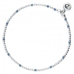 Bracelet élastique GRAIN DE FOLIE - Perles argent & Perles Miyuki bleues DORIANE Bijoux