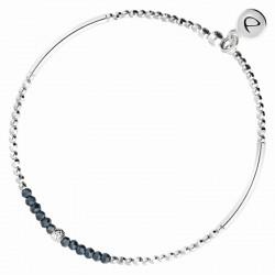Bracelet élastiqué FLIRTING - Perles argent & Perles de verres bleues DORIANE Bijoux