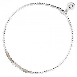 Bracelet élastiqué FLIRTING CRISTAL GREY Argent - Perles grises DORIANE BIJOUX