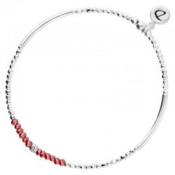 Bracelet élastiqué FLIRTING - Perles argent & Perles de verres rouges DORIANE Bijoux