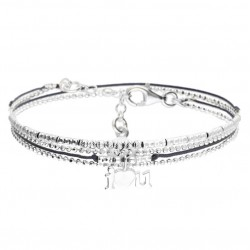 Bracelet multi-tours ajustable I LOVE YOU argent - Cordons bleu marine doriane bijoux