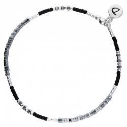 Bracelet élastiqué fin FLUFFY argent - Perles Miyuki & Hématites grises noires DORIANE Bijoux