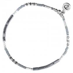 Bracelet élastiqué fin FLUFFY argent - Perles Miyuki & Hématites grises DORIANE Bijoux