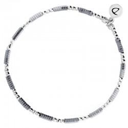 Bracelet élastique fin GLAM - Perles argent & Hématites grises DORIANE Bijoux
