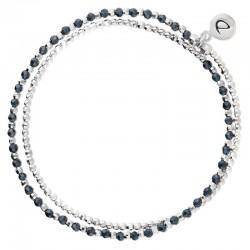 Bracelet élastique HEAVEN DOUBLE TOURS - Perles Argent & Perles bleues DORIANE Bijoux