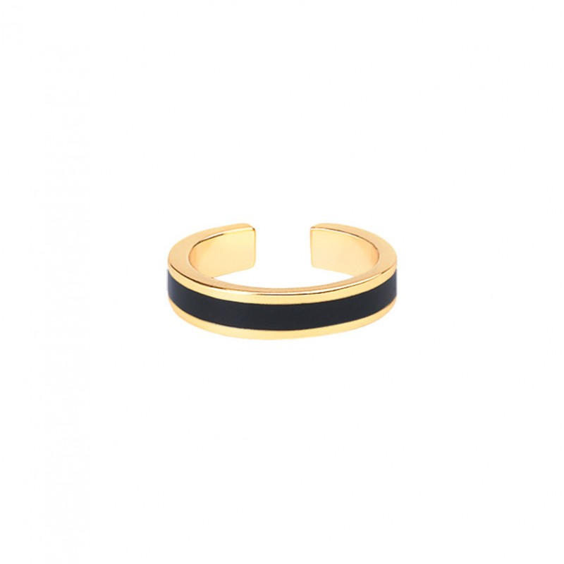 Bague fine ajustable BAN dorée & Email noir signée BANGLE UP