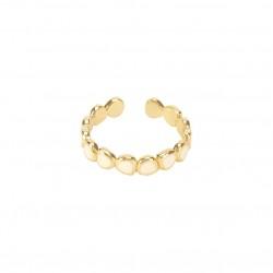 Bague fine ajustable LUMI dorée & Email blanc sable signée BANGLE UP