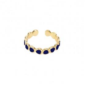 Bague fine ajustable LUMI dorée & Email bleu nuit signée BANGLE UP
