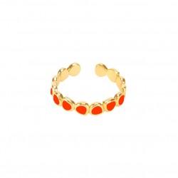 Bague fine ajustable LUMI dorée & Email tangerine signée BANGLE UP