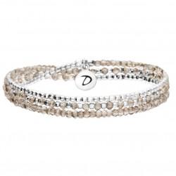 Bracelet élastique HEAVEN TRIPLE TOURS Argent & Perles grises DORIANE Bijoux