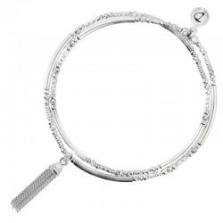 Bracelet élastiqué double tours POMPON Argent - Perles tubes  diamantés  DORIANE Bijoux