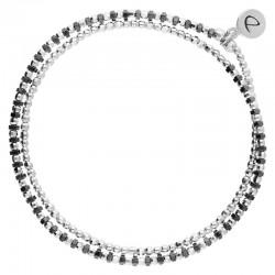 Bracelet élastique HEAVEN DOUBLE TOURS - Perles Argent & Hématites noires DORIANE BIJOUX