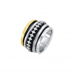 Bague Tube Large Argent Or Jaune & Zircons - L'EXCLUSIVE - THEMA
