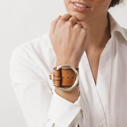 Bracelet Manchette Large BELT métal - Cuir camel & Boucle Étrier - CXC