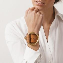 Bracelet Manchette Large BELT doré - Cuir camel & Boucle Étrier - CXC