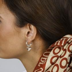 Boucles d'oreilles mini créoles REVERSE métal & Pendentif pyramide - CXC