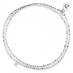 Bracelet élastiqué double tours Perles Argent & petit OXYDE Carré blanc DORIANE BIJOUX