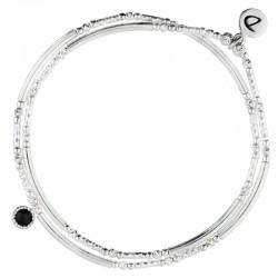 Bracelet élastiqué double tours Perles Argent - Tubes & Spinelle noire DORIANE Bijoux