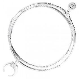 Bracelet élastiqué double tours CHARM Argent - Perles tubes & Corne DORIANE Bijoux