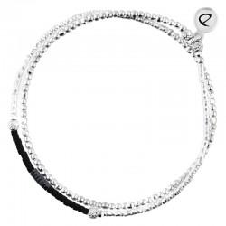 Bracelet fin élastique 2 tours INFINITY Argent - Tubes & Miyuki Hématites noires DORIANE Bijoux