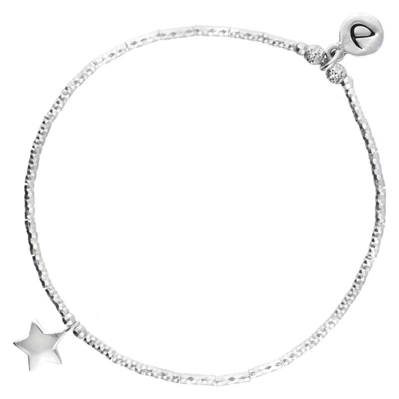 Bracelet élastique Argent ETOILE - Tubes diamantées & ETOILE design - DORIANE Bijoux