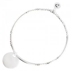 Bracelet élastiqué ROUND Argent - Perles tubes & Pastille plate DORIANE Bijoux