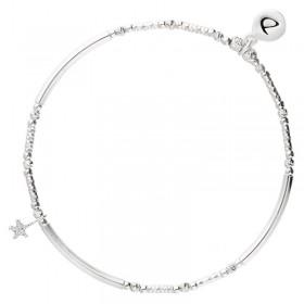 Bracelet élastique Argent PETITE ETOILE Oxyde - Perles tubes & Etoile martelée - DORIANE Bijoux
