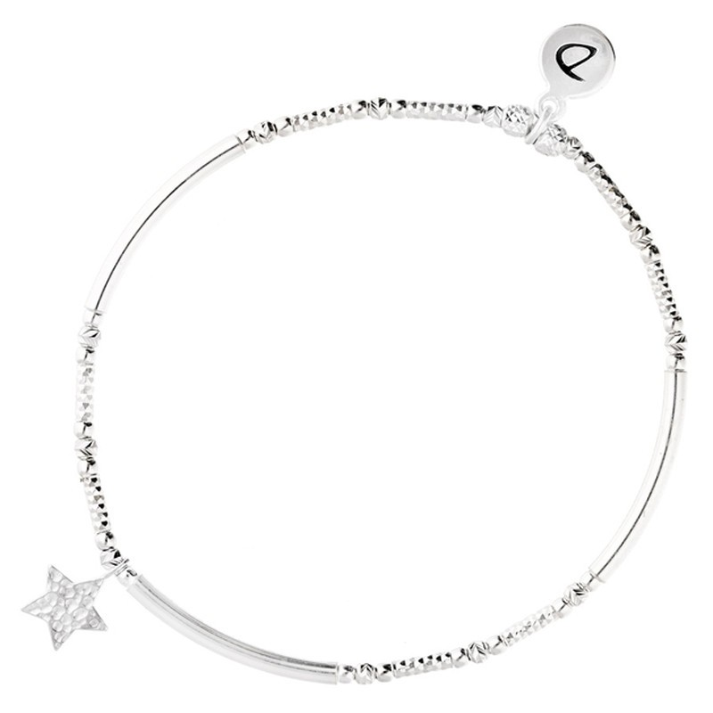 Bracelet élastique Perles Argent - Tubes & pendentif ETOILE MARTELEE doriane bijoux