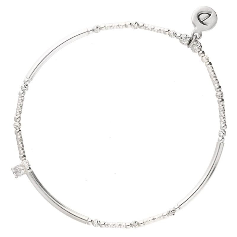 Bracelet élastique Argent PETIT CARRE - Perles tubes & Carré zircon blanc - DORIANE Bijoux