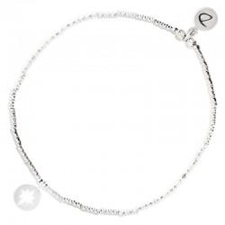 Bracelet élastique en argent - Tubes diamantés & Etoile du Nord DORIANE Bijoux